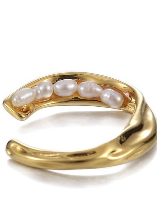 Five pearl rings (adjustable) Brass Imitation Pearl Irregular Hip Hop Band Ring