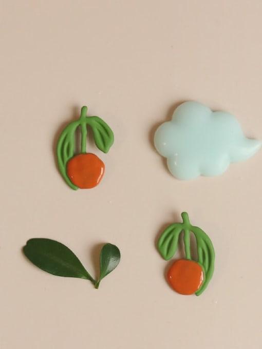 Five Color Alloy Enamel Friut Cute Stud Earring