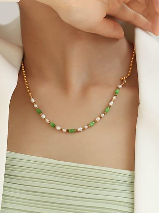 TINGS Brass Imitation Pearl Geometric Minimalist Beaded Necklace 1