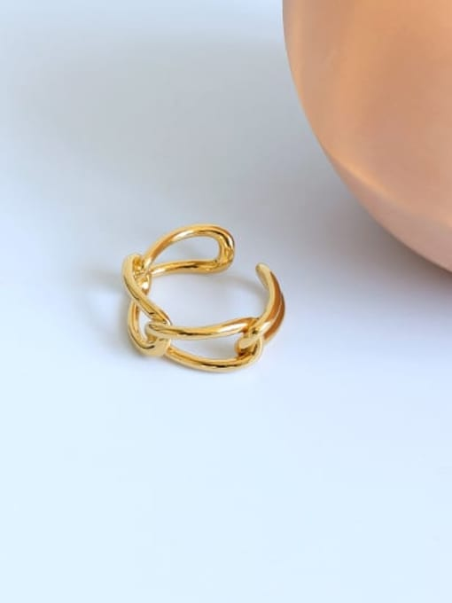 Five Color Brass Hollow Geometric Minimalist Stackable Ring 3