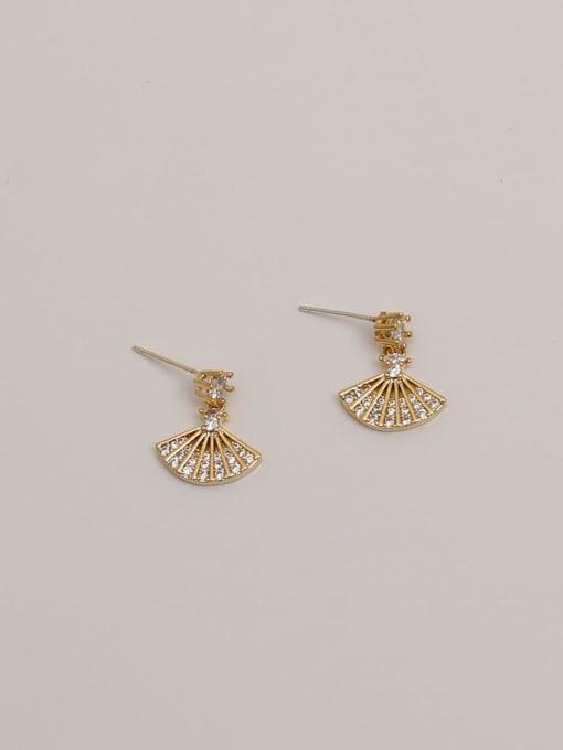 HYACINTH Brass Cubic Zirconia Geometric Minimalist Scalloped  Drop Earring 4