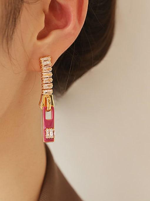 ACCA Zinc Alloy Enamel Geometric Minimalist Drop Earring 3