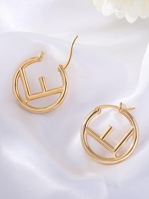 OUOU Brass Hollow Geometric Minimalist Huggie Earring 3