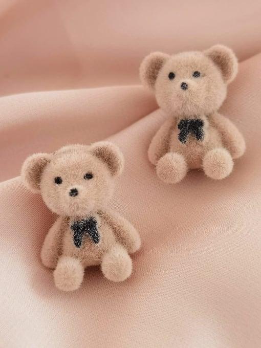 HYACINTH Alloy Flocking Bear Cute Stud Earring