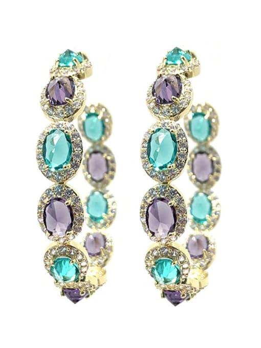 SUUTO Brass Cubic Zirconia Geometric Luxury Cluster Earring 2