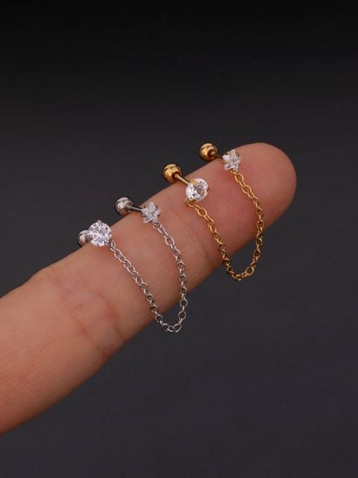 HISON Brass with Cubic Zirconia White Tassel Minimalist Stud Earring 1