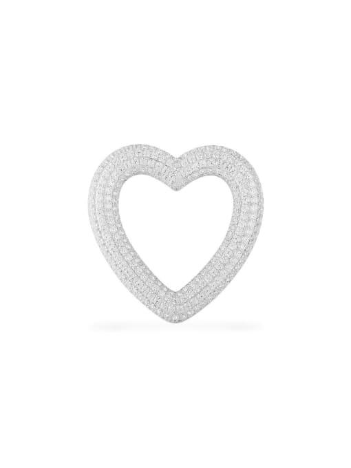 Platinum  Hearts  Single Brass Cubic Zirconia Heart Statement Drop Earring