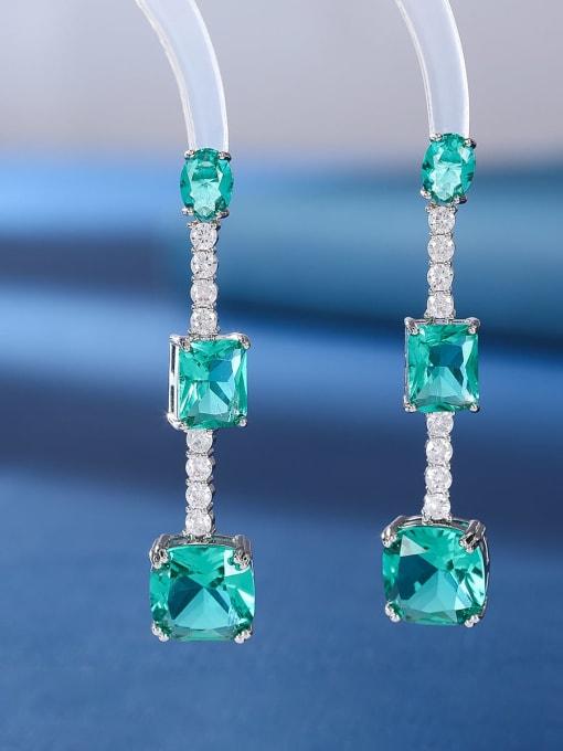 OUOU Brass Cubic Zirconia Geometric Luxury Drop Earring 1