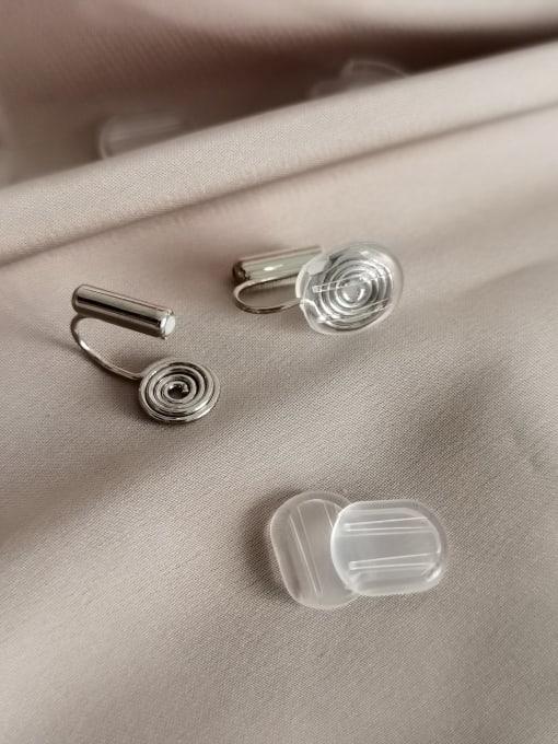 White K Brass Geometric Minimalist Stud Earring