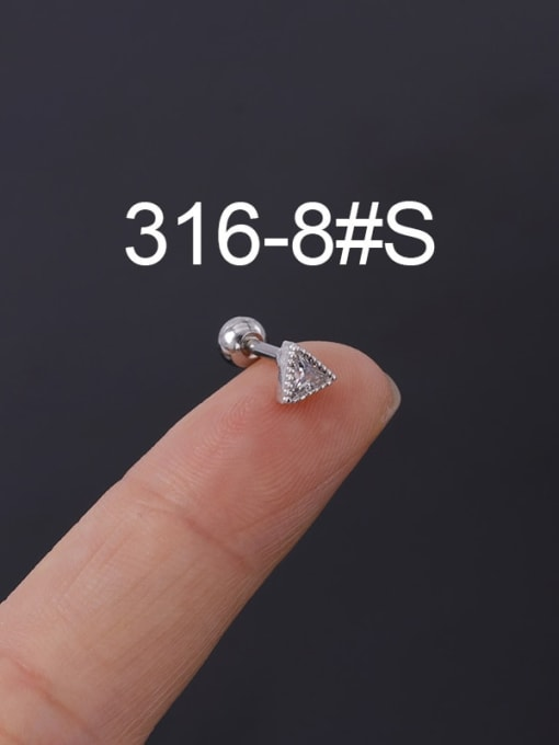 8S Stainless steel with Cubic Zirconia Ear Bone Nail/Puncture Earring