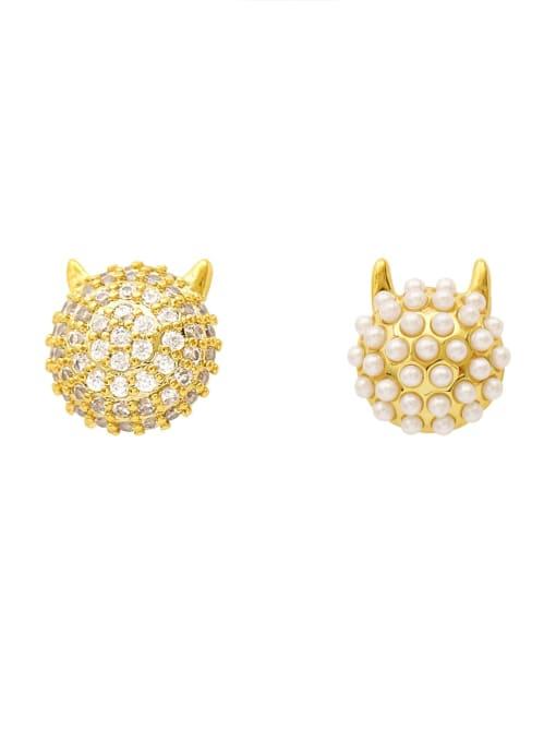 HYACINTH Brass Imitation Pearl Geometric Ethnic Stud Earring