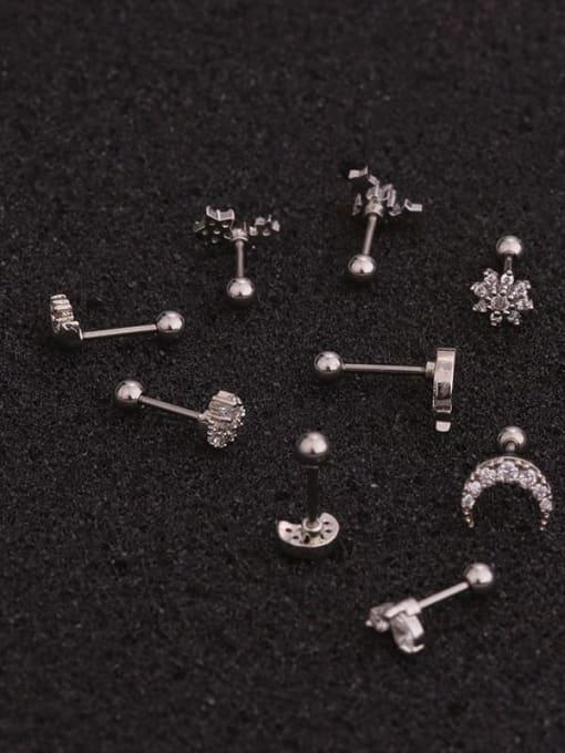 HISON Brass Cubic Zirconia Moon Hip Hop Stud Earring 3