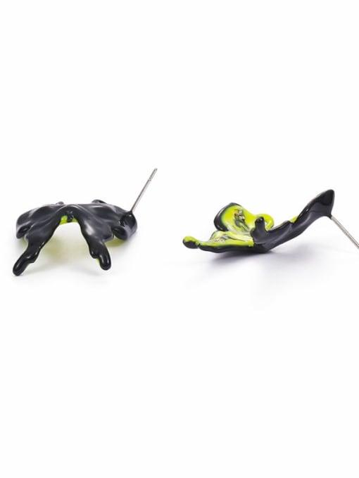 Five Color Brass Multi Color Enamel Butterfly Minimalist Stud Earring 3