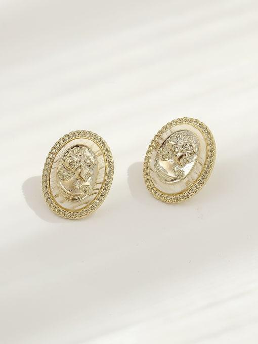 HYACINTH Brass Shell Oval Vintage Stud Earring 0