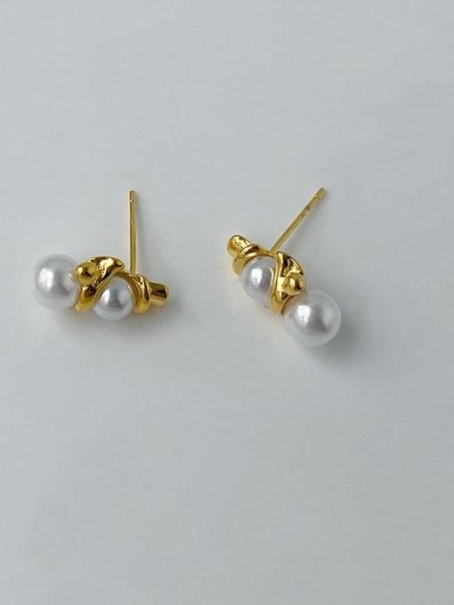 Five Color Brass Imitation Pearl Geometric Hip Hop Stud Earring 0