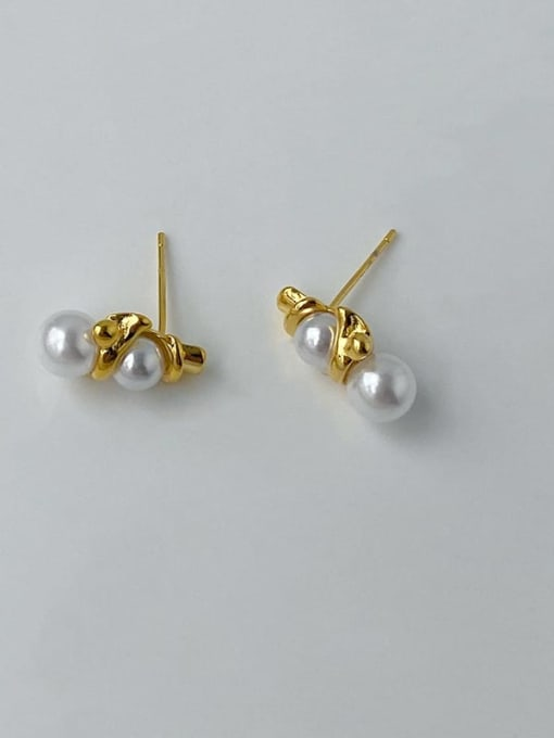 Five Color Brass Imitation Pearl Geometric Hip Hop Stud Earring