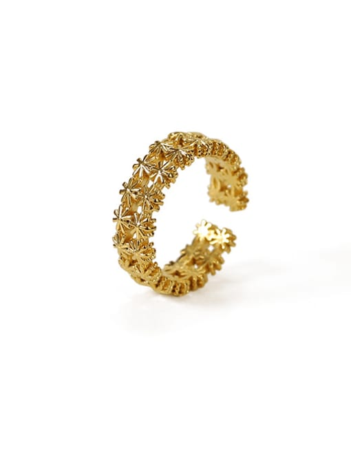 ACCA Brass Rhinestone Flower Vintage Band Ring