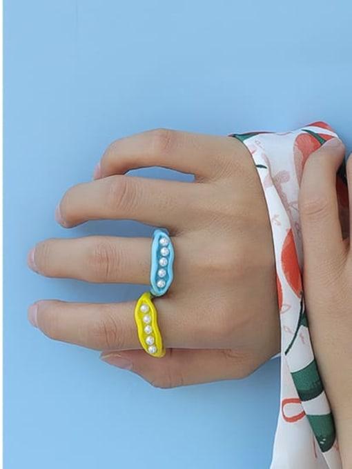 Five Color Zinc Alloy Imitation Pearl Geometric Minimalist Band Ring 2