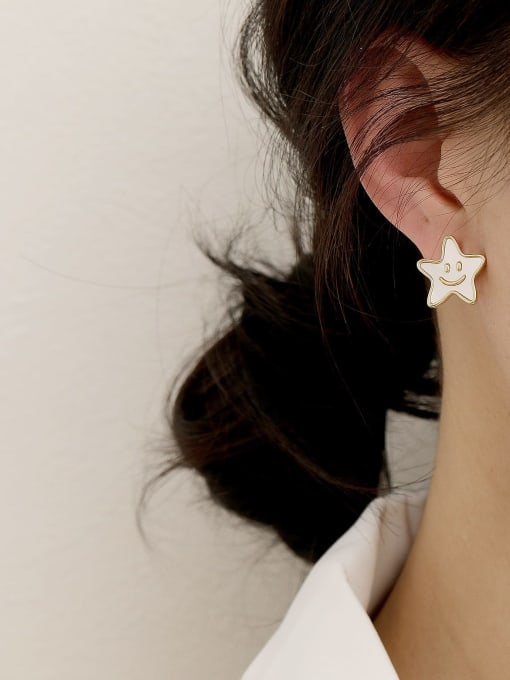 HYACINTH Brass Enamel Cute Asymmetrical star letters  Stud Earring 2