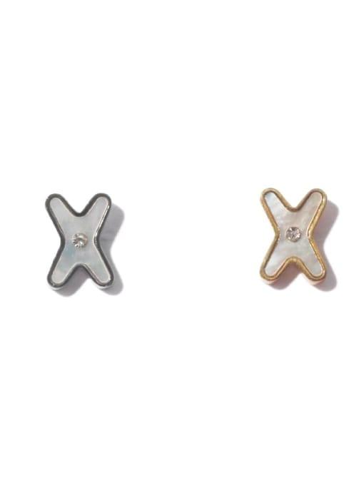 TINGS Brass Shell Cross Minimalist Stud Earring 4