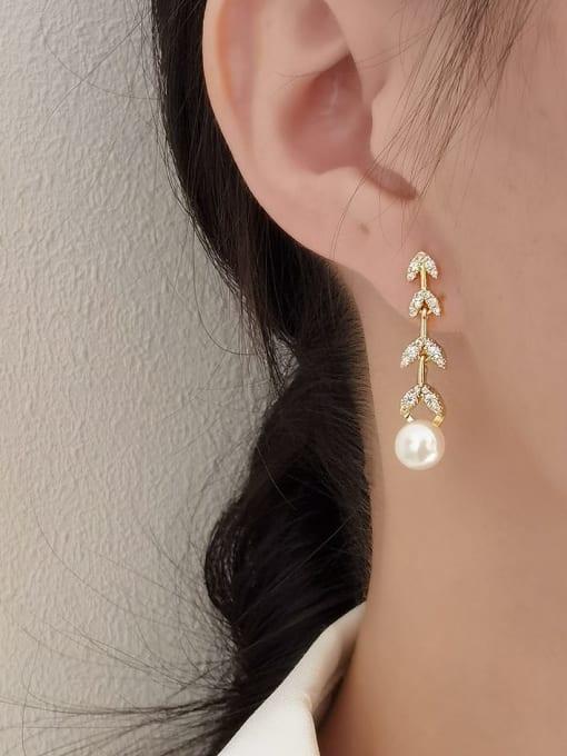 HYACINTH Brass Imitation Pearl  Asymmetry Geometric Minimalist Drop Earring 1