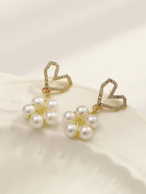 14k Gold Brass Imitation Pearl Heart Cute Drop Earring