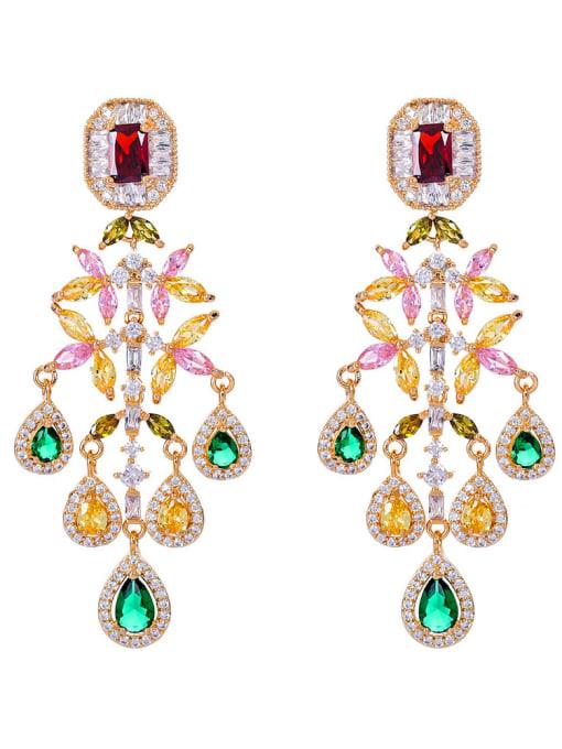 Seven colors Brass Cubic Zirconia Flower Luxury Drop Earring