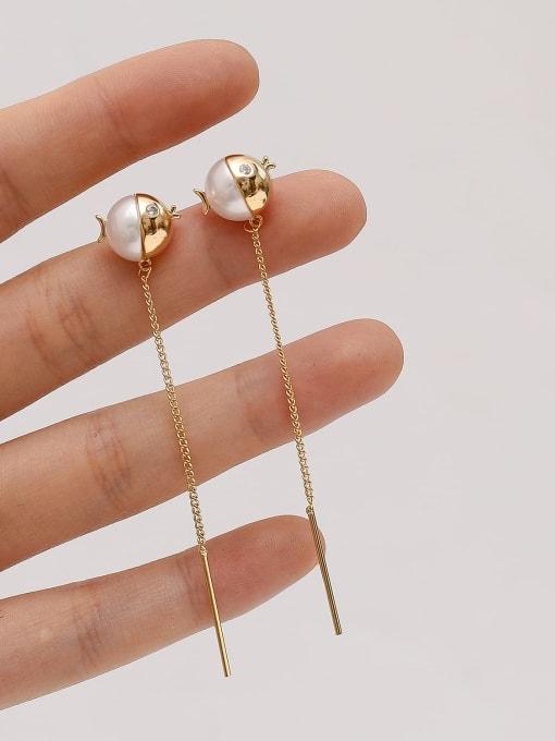 HYACINTH Brass Imitation Pearl Tassel Minimalist Threader Earring 2