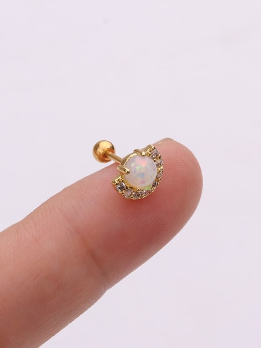 Gold 5#(Single) Brass Cubic Zirconia Irregular Cute Stud Earring(Single)