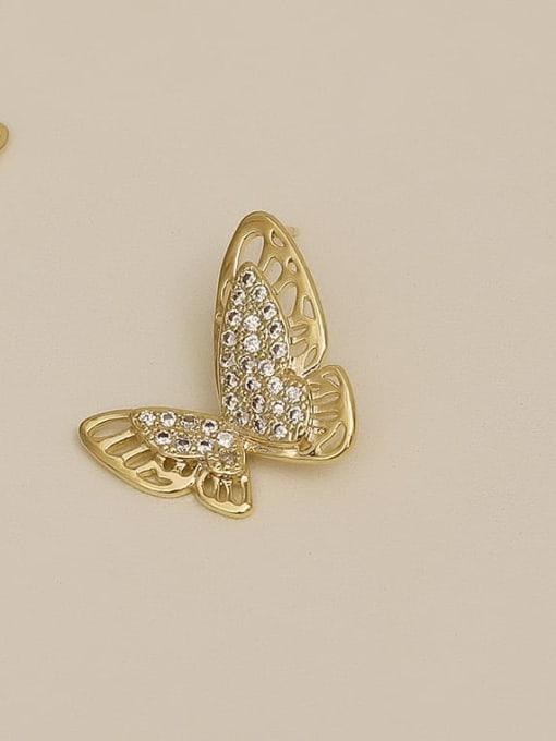 HYACINTH Copper Rhinestone Hollow Butterfly Minimalist Stud Earring 2