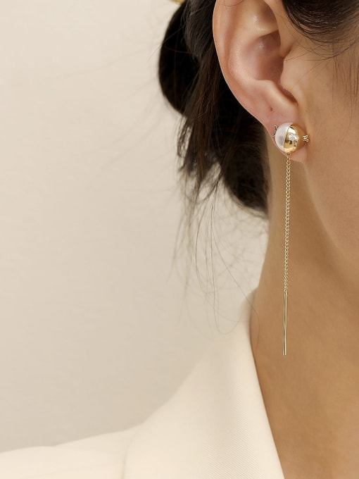 HYACINTH Brass Imitation Pearl Tassel Minimalist Threader Earring 1