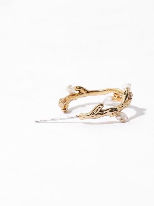 TINGS Brass Imitation Pearl Geometric Minimalist Stud Earring 3