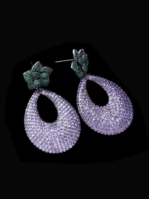 purple Brass Cubic Zirconia Water Drop Statement Drop Earring