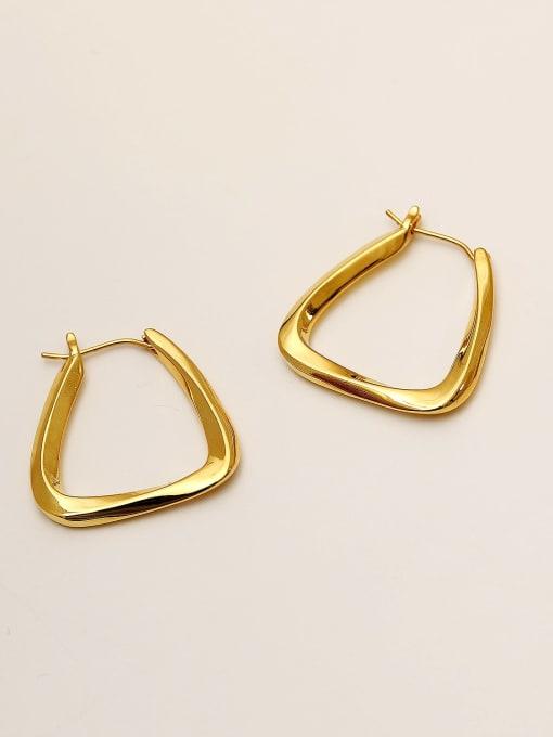 HYACINTH Brass Hollow Geometric Minimalist Stud Earring 3