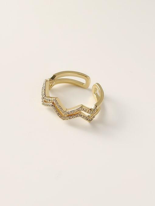 HYACINTH Brass Cubic Zirconia Geometric Minimalist Stackable Ring