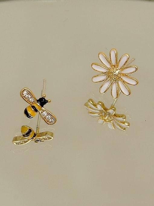 HYACINTH Copper Rhinestone Enamel Cute chrysanthemum Bee asymmetric Stud Earring 2