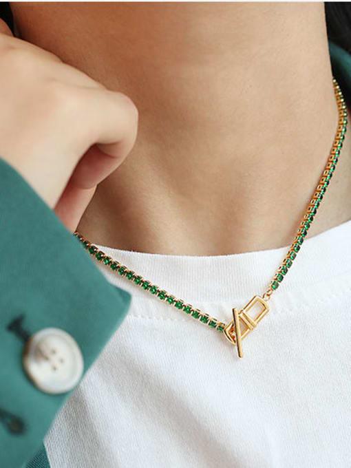 ACCA Brass Cubic Zirconia Geometric Vintage Lariat Necklace 1