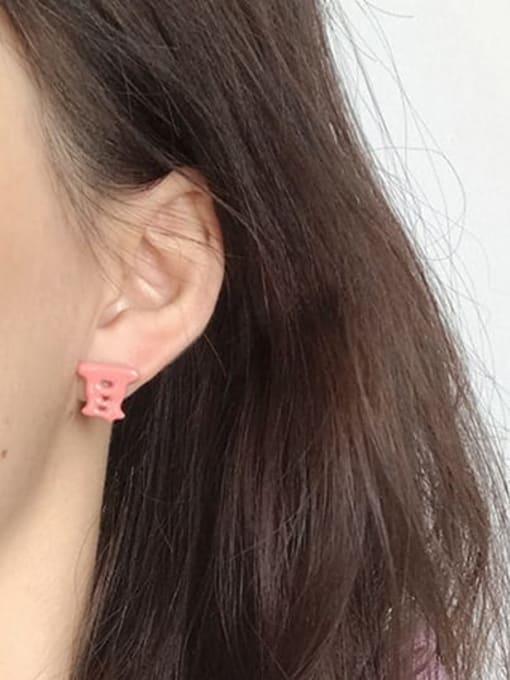 Five Color Alloy Enamel Message Cute Stud Earring 1