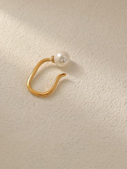 HYACINTH Brass Imitation Pearl Geometric Minimalist Stud Trend Korean Fashion Earring 3
