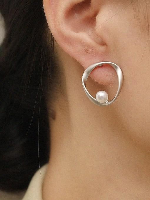 HYACINTH Brass Imitation Pearl Geometric Minimalist Stud Trend Korean Fashion Earring 1