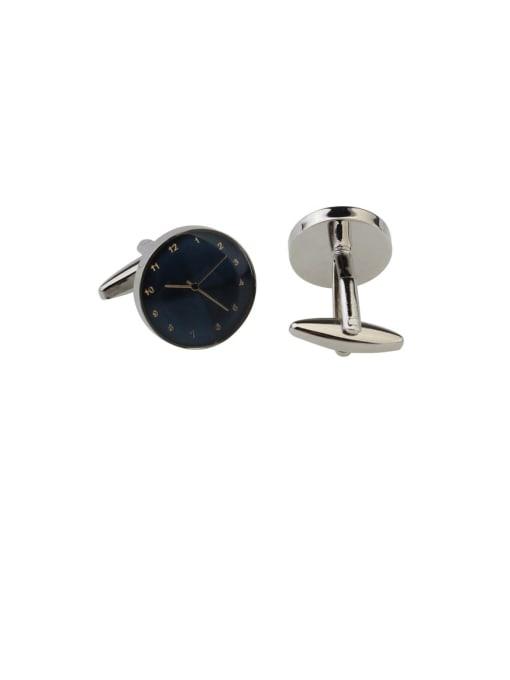 blue Brass Enamel Round Vintage Cuff Link