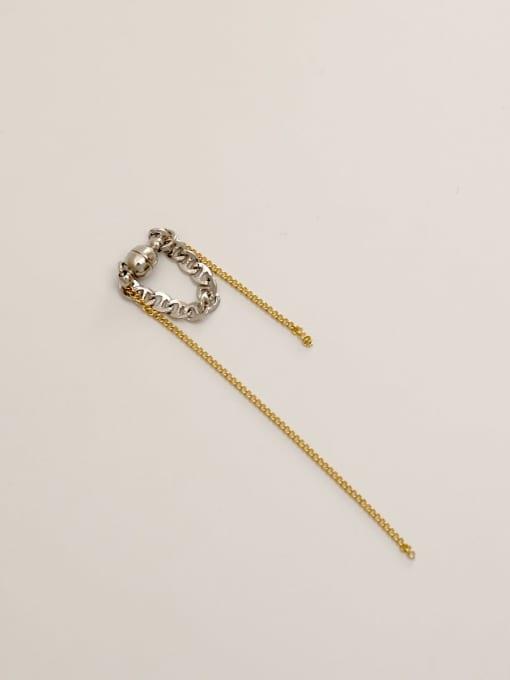 14k Gold White K Brass Tassel Vintage Threader Earring