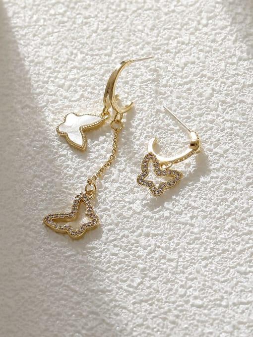 HYACINTH Brass Shell Butterfly Minimalist Drop Earring 2