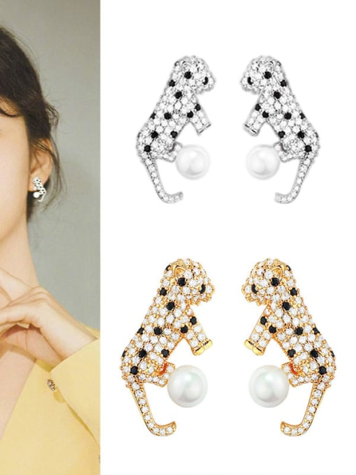 OUOU Brass Cubic Zirconia Leopard Hip Hop Stud Earring 1
