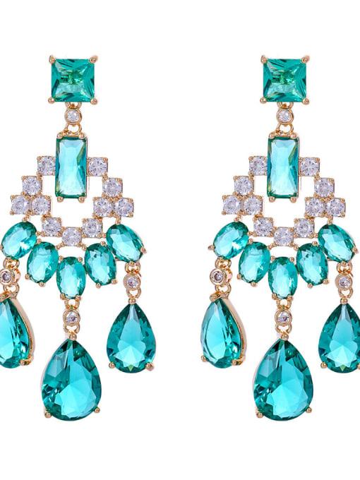 green Brass Cubic Zirconia Tassel Luxury Drop Earring