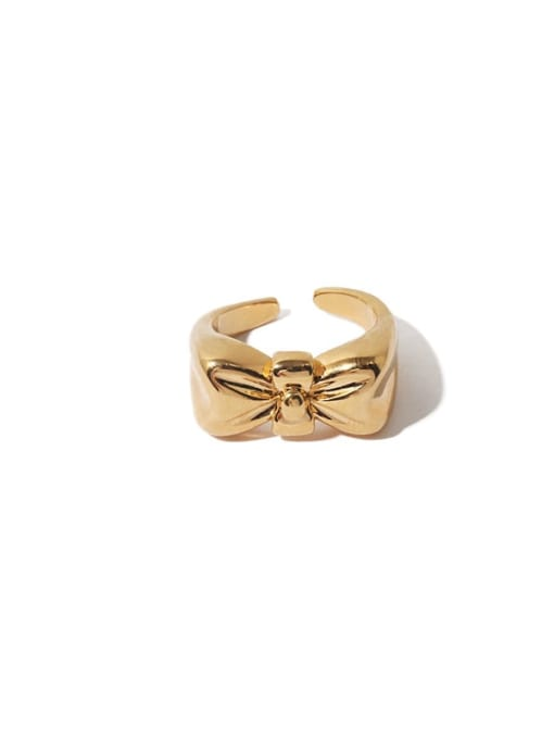 Gold Brass Bowknot Hip Hop Band Ring