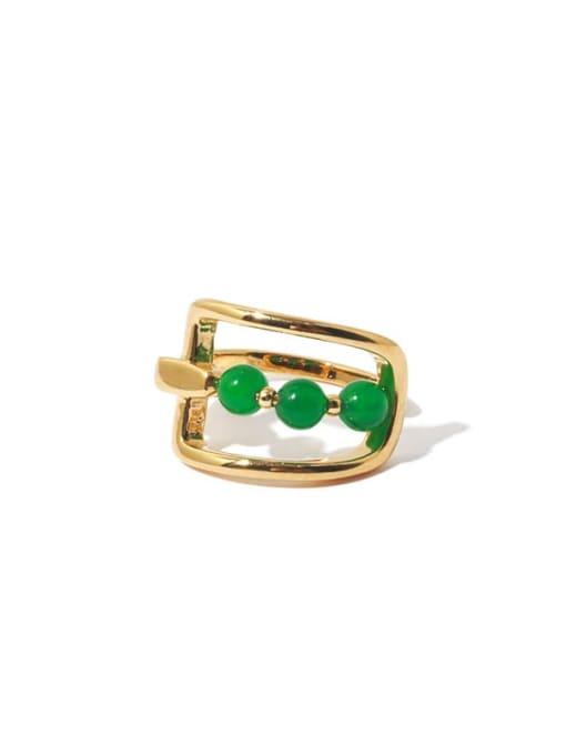 TINGS Brass Bead Geometric Vintage Band Ring 0