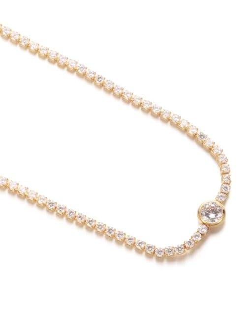 Five Color Brass Imitation Pearl Geometric Hip Hop Necklace 4