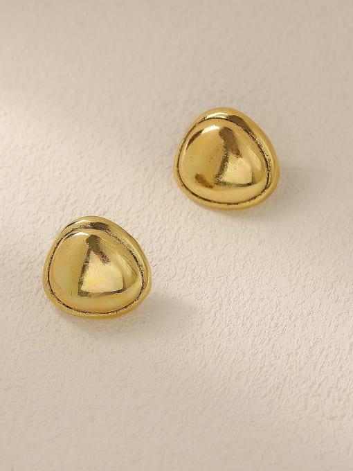 HYACINTH Brass Smooth Triangle Minimalist Stud Trend Korean Fashion Earring 2