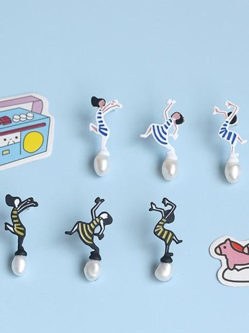Five Color Alloy Imitation Pearl Enamel Irregular Cute Stud Earring 4